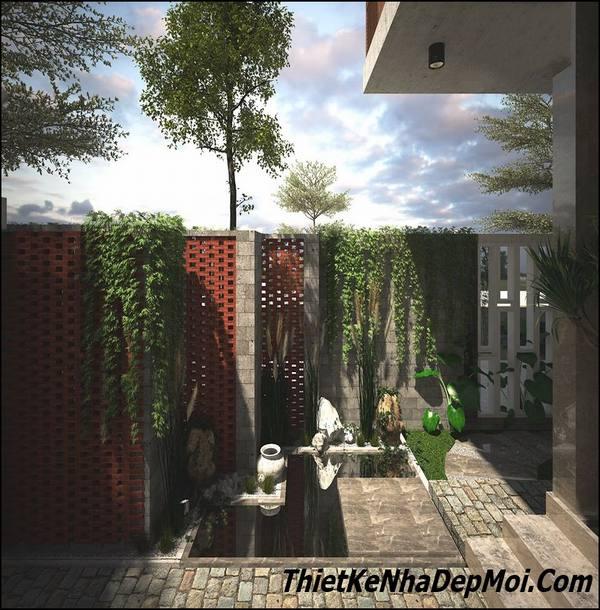 Không gian tiểu cảnh sân vườn nhà ống