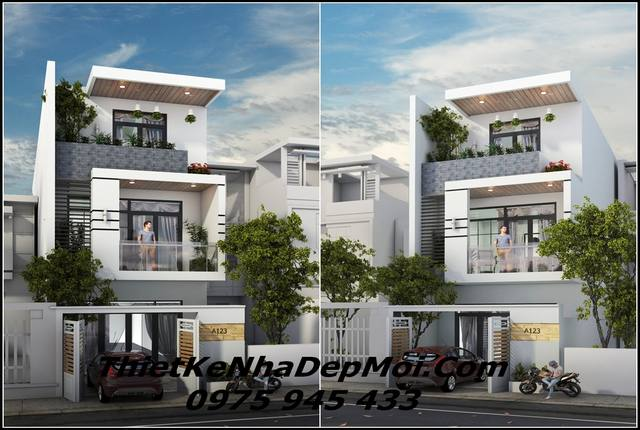 Hình ảnh 3D nhà phố 1 trệt 2 lầu sân thượng 5x20