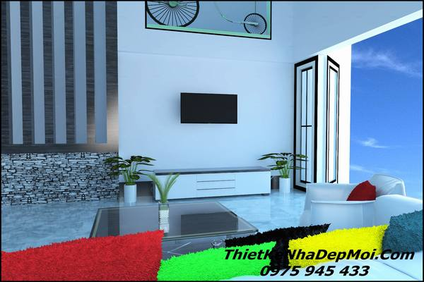 Không gian nhà vuông 1 tầng 3 phòng ngủ hiện đại