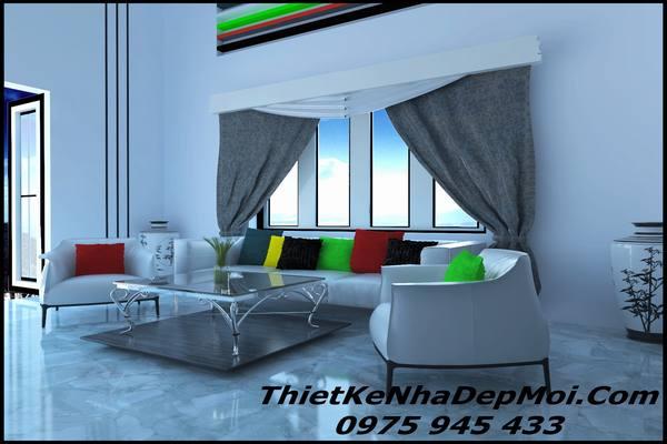 Thiết kế phòng khách nhà vuông 1 tầng năm 2020