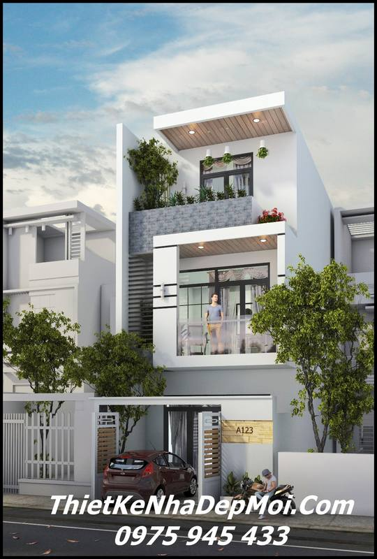 Thiết kế nhà 1 trệt 2 lầu sân thượng 5x20 hiện đại
