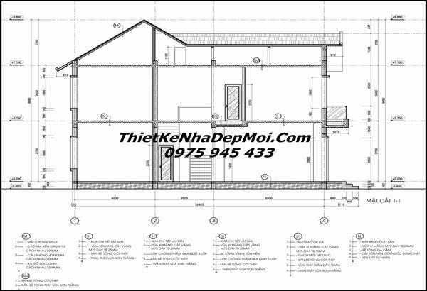 Bản vẽ thiết kế nhà 2 tầng 8x14m 2018