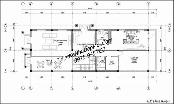 Bản vẽ biệt thự 3 tầng 9x25