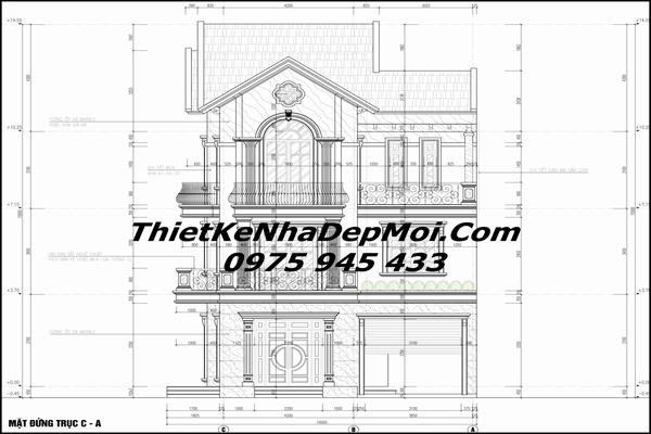 thiết kế biệt thự 2 tầng 1 tum 9x15