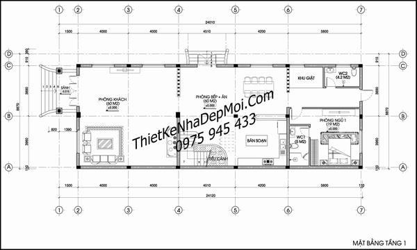 Mặt bằng biệt thự 3 tầng 9x25