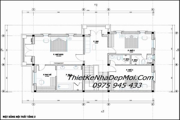 Thiết kế nhà 2.5 tầng mái thái 9m