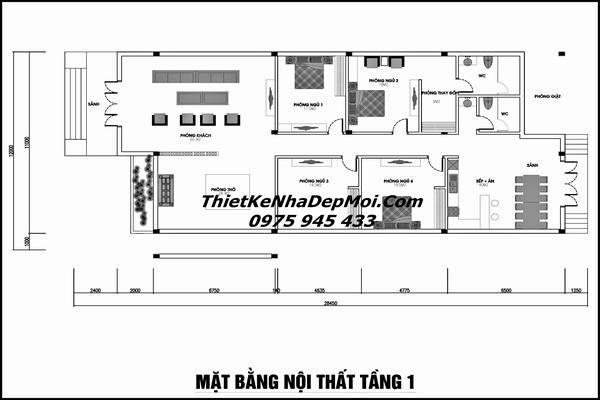 Mặt bằng nhà 1 tầng 10x25