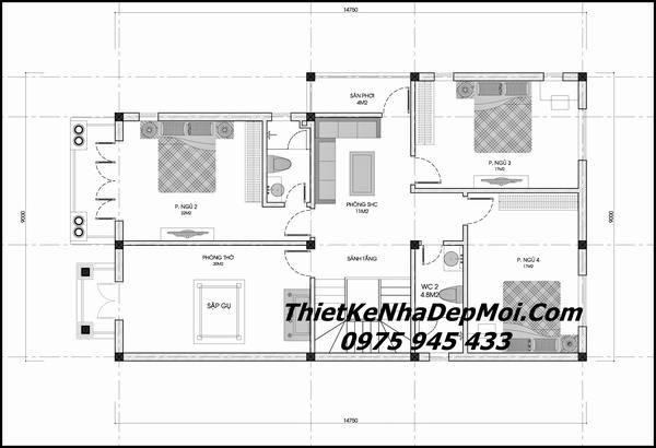 Bản vẽ thiết kế nhà 2 tầng 9.x15
