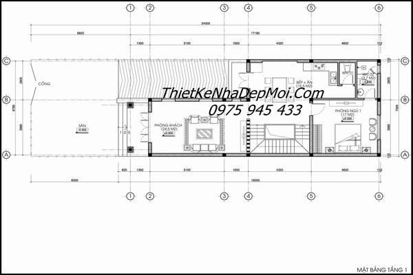 Mặt bằng biệt thự phố mái thái hình chữ L ngang 7m