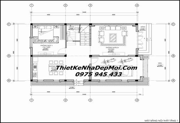 Bản vẽ nhà mái thái 2 tầng 8x14