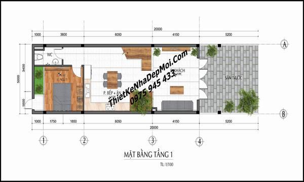 Mặt bằng nhà phố 5x20 tầng 1