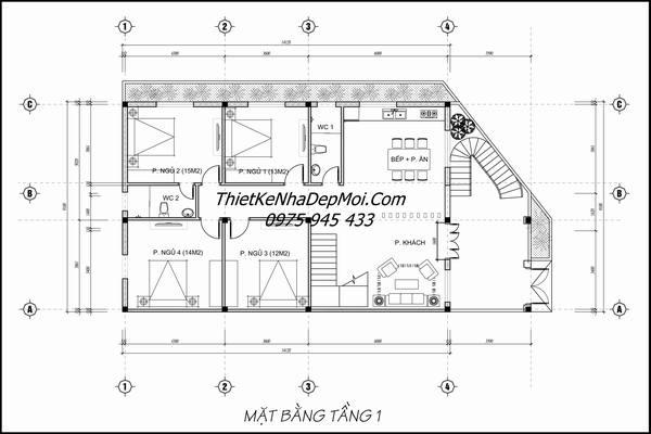 Mặt bằng mẫu nhà 2 tầng 3 mặt tiền 9x14m