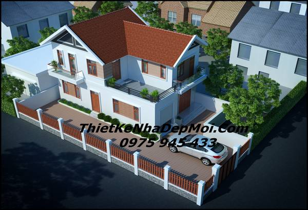 Mẫu nhà 2 tầng ở nông thôn 100m2