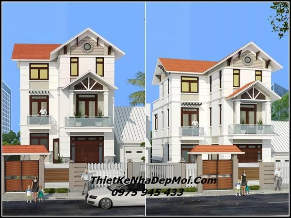 Mẫu nhà 3 tầng mái thái 8x15