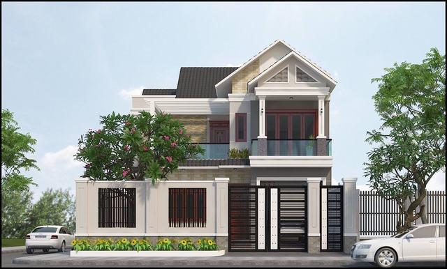 Mẫu nhà 2 tầng mái tôn đơn giản