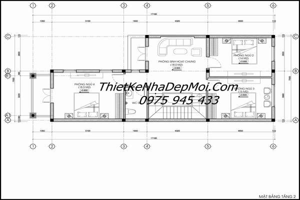 Thiết kế biệt thự phố 7x18 3 tầng