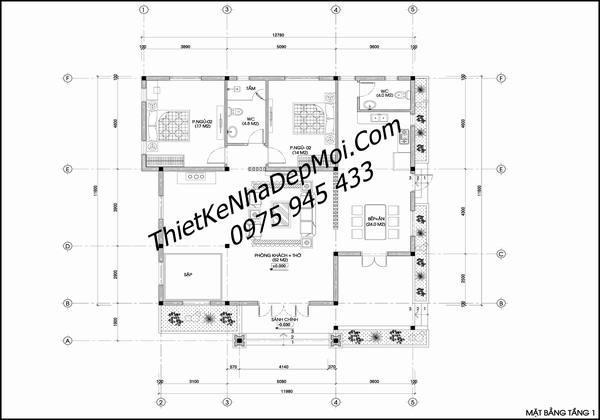 Mặt bằng thiết kế nhà 1 tầng 120m2