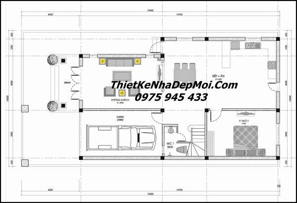 thiết kế nhà có gara rộng 9m dài 15m
