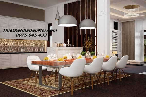 Thiết kế nội thất phòng ăn rộng hơn 30m2