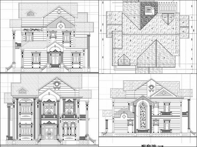 Bản vẽ xây biệt thự 1 trệt 1 lầu