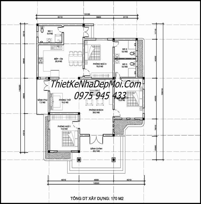 Mặt bằng nhà cấp 4 3 phòng ngủ hình chữ L 170m2