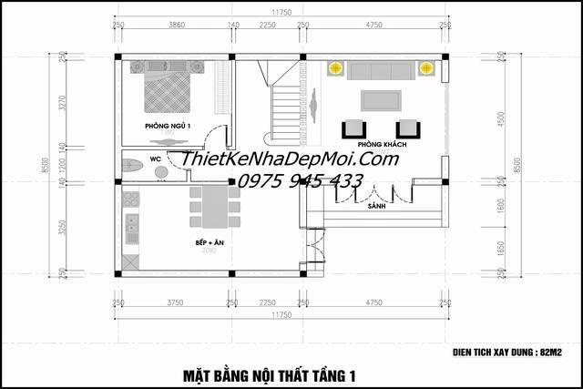 Bản vẽ nhà chữ L 3 tầng mái thái 85m2 2021