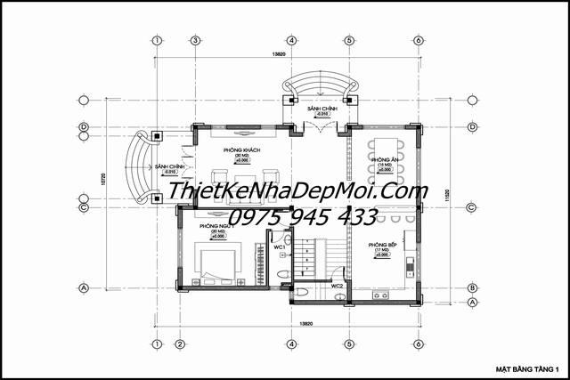 Bản vẽ thiết kế biệt thự 120m2