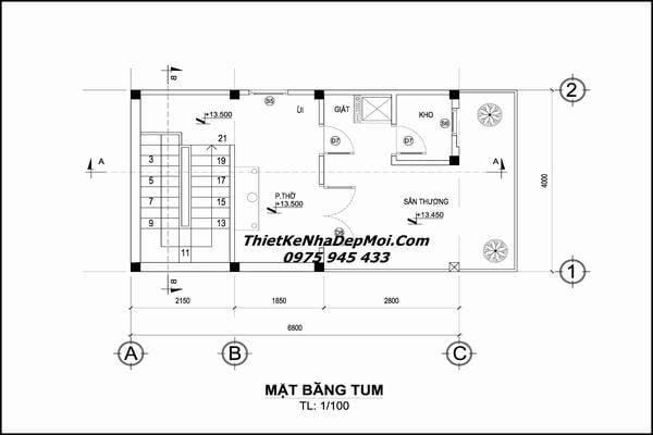 Bản vẽ thiết kế nhà 30m2 đơn giản