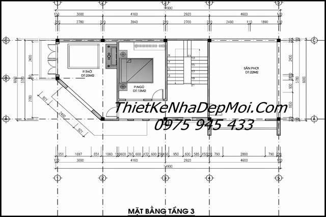 Bản vẽ nhà 3 tầng 2 mặt phố 2021