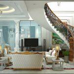 Không gian phòng khách biệt thự cổ điển