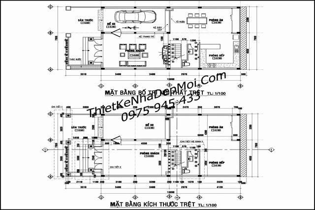 Bản vẽ biệt thự 8x18 3 tầng