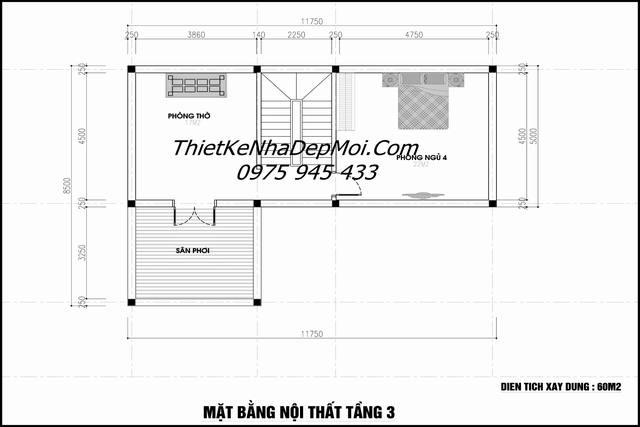Bản vẽ tầng 3 nhà mái thái 85m2