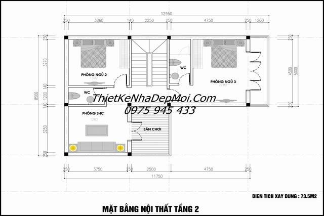 Thiết kế nhà 85m2 3 tầng