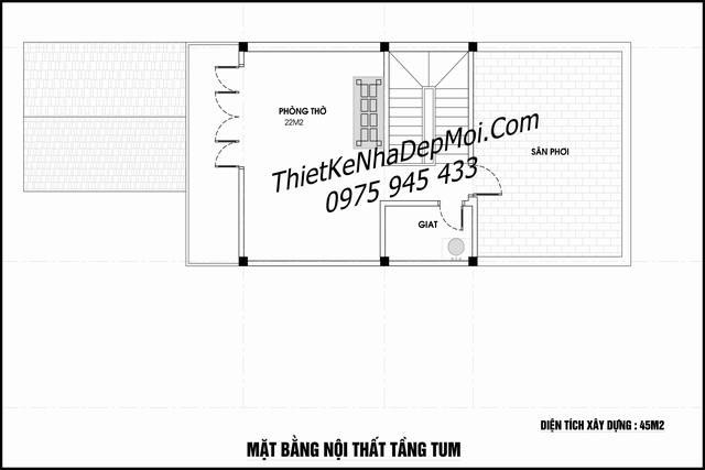 thiết kế nhà 3.5 tầng 6x20