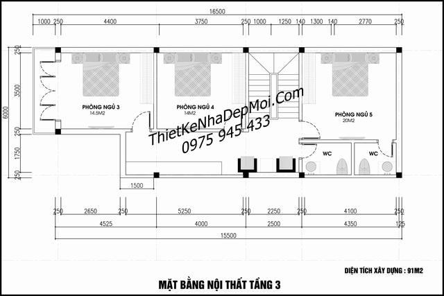 Bản vẽ nhà 6x20 4 tầng