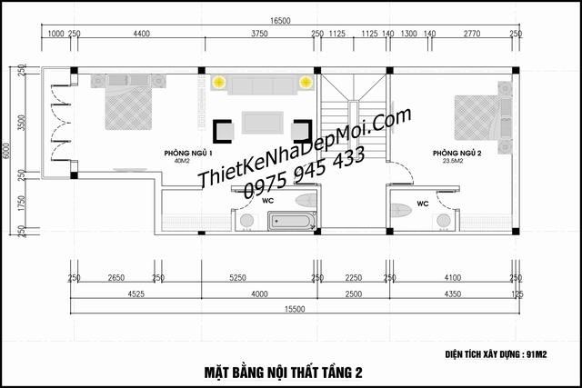 Thiết kế nhà phố 4 tầng 6x20