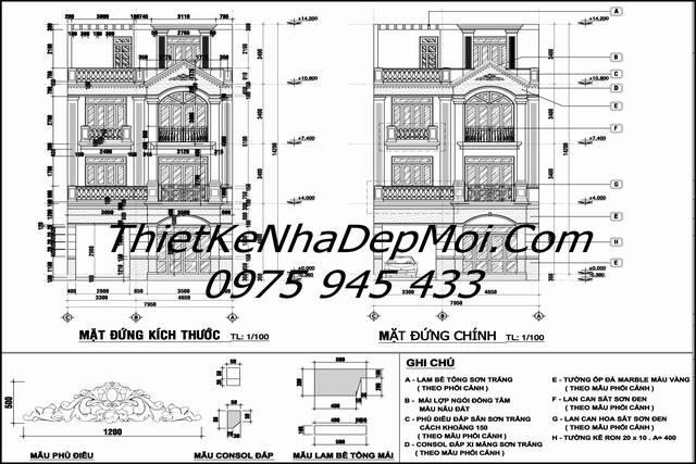 Thiết kế biệt thự 3 tầng 8x16