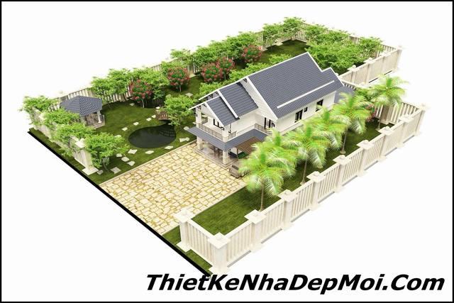 Biệt thự vườn 2 tầng đơn giản