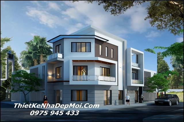 Nhà hai mặt tiền 1 trệt 2 lầu hiện đại 2021