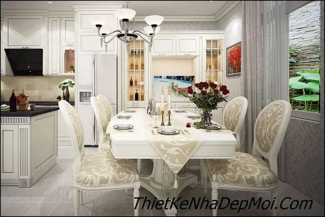 thiết kế nội thất phòng ăn cổ điển bên trong biệt thự châu âu