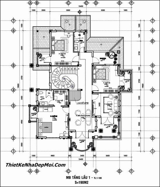 Bản vẽ chi tiết biệt thự 2 tầng 150m2