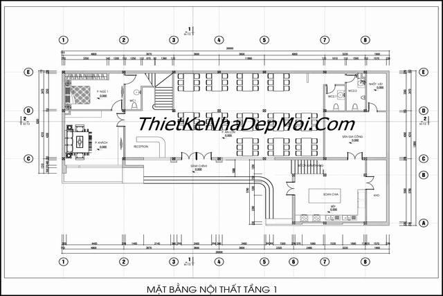 thiết kế không gian mặt bằng nhà hàng bình dân tầng 1
