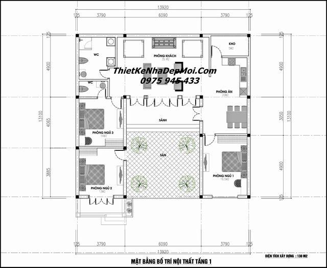 Bản vẽ nhà cấp 4 hiện đại 130m2