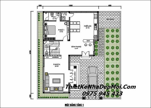Bản vẽ nhà vuông 2 tầng mái thái