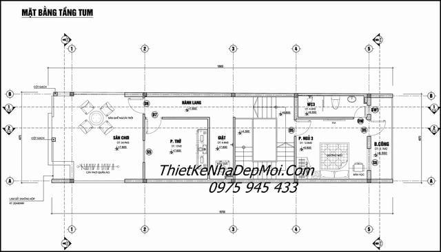 Bản vẽ nhà phố 5m 3 tầng 5x20