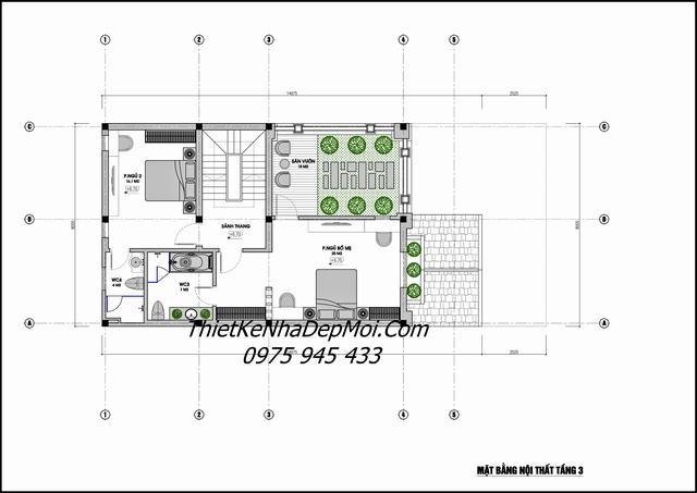 Bản vẽ thiết kế biệt thự 4 tầng ngang 8m