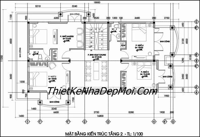 Bản vẽ kiến trúc biệt thự 2 tầng 8x18