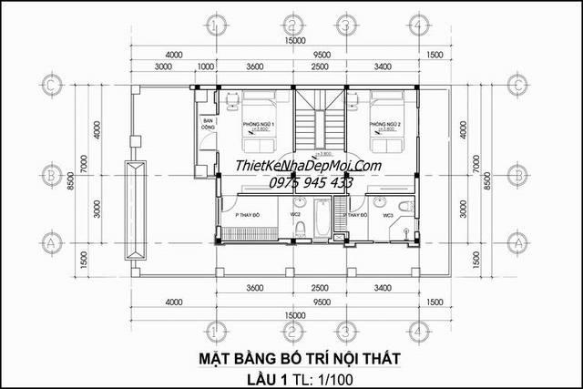 Bản vẽ thiết kế nhà 3 tầng 70m2