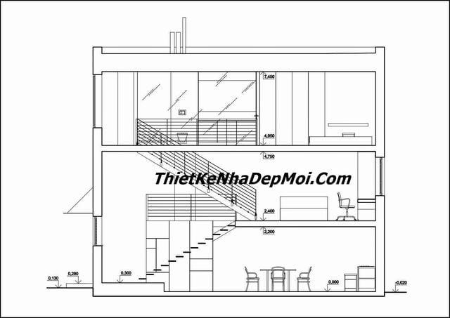 Bản vẽ xây nhà nhỏ 30m2 3x10 lệch tầng