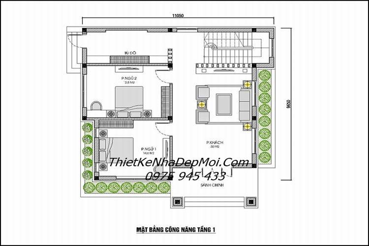 bản vẽ thiết kế nhà vuông 2 tầng 1